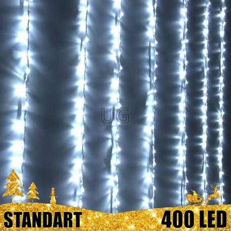 LED girlianda Užuolaida - Krioklys 400 lempučių STANDART 3 x 2 m.