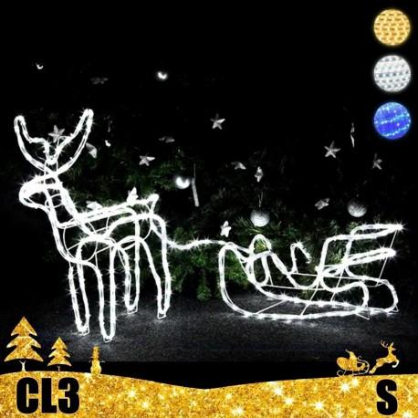 LED 3D šviečiantis Elnias su rogėmis S | Kalėdinė dekoracija