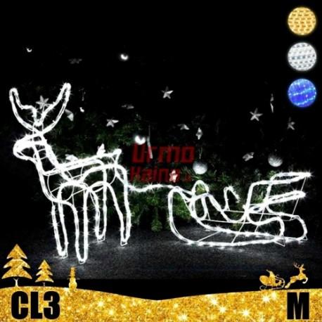 LED 3D šviečiantis Elnias su rogėmis M | Kalėdinė dekoracija