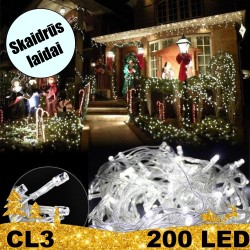200 LED lempučių girlianda STANDART CL3 skaidriais laidais