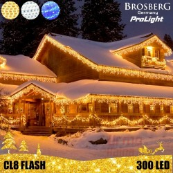 300 LED profesionali lauko girlianda varvekliai Brosberg Prolight CL8 Flash