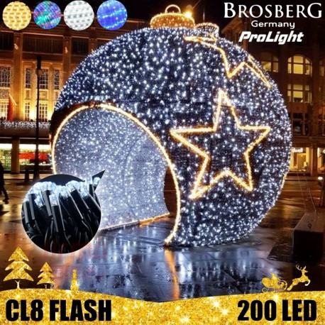 200 LED profesionali lauko girlianda Brosberg Prolight CL8 Flash