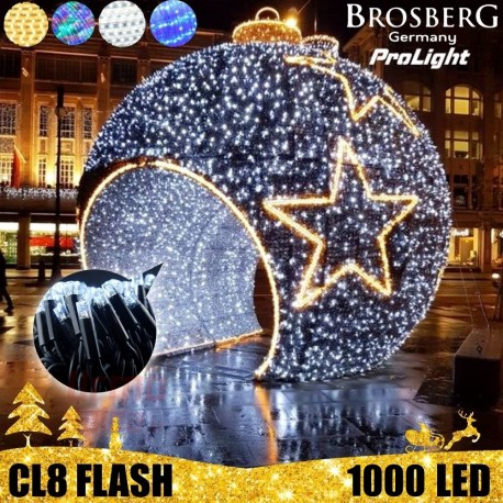 1000 LED profesionali lauko girlianda Brosberg Prolight CL8 Flash